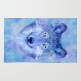 Sky blue wolf with Golden eyes Rug