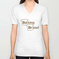 baking V-neck T-shirts featuring Baking Bread by Matt Tichenor