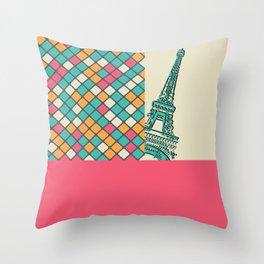 Eiffel tower peeks Throw Pillow