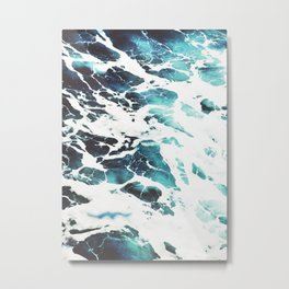 Water, Blue, Sea, Ocean, Minimal, Pattern, Modern art Metal Print
