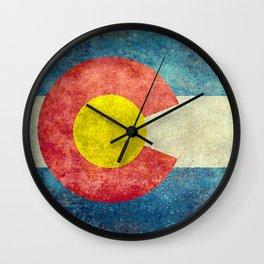 Coloradan flag in Retro Grunge Wall Clock