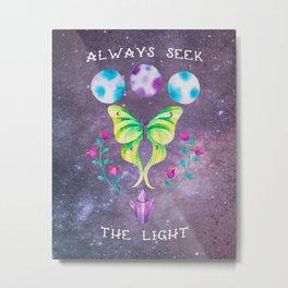 Always Seek the Light - Luna Moth Moon Crystals Boho Watercolor Metal Print