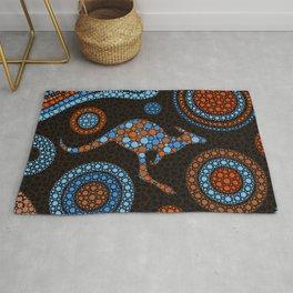 Aboriginal Dot Art Kangaroo Color Rug