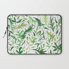 Greenery Leaf Pattern - Green Leaves Boho Decor Laptop Sleeve