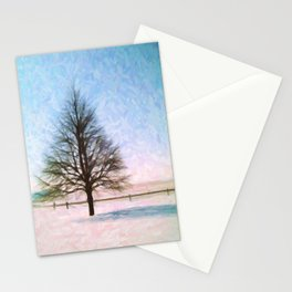 A Perfect Winter Tree Vivid Oil Stationery Cards