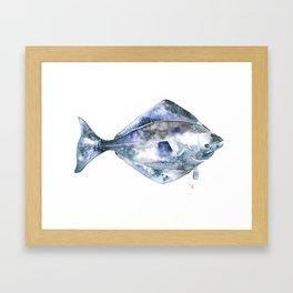 Flat Fish Watercolor Framed Art Print