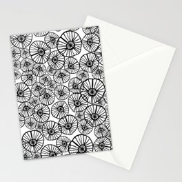 Lexi - squiggle modern black and white hand drawn pattern design pinwheels natural organic form abst Stationery Cards