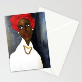 Rare African American Portrait of Aicha Goblet in a Red Hat by Amedeo Modigliani Stationery Cards