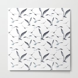Flying Seagulls over the Ocean - Maritime Pattern - Mix & Match with Simplicity of life Metal Print