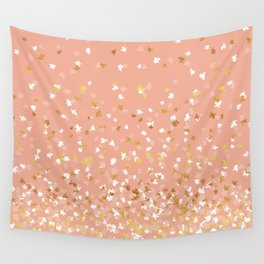 Floating Confetti - Peach and Gold Wall Tapestry