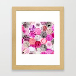 Pink Marbled Hexies Framed Art Print