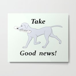 post dog with newspaper Metal Print
