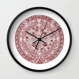 Aztec Calendar // Maroon Wall Clock
