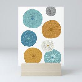 Sea Urchins in Blue + Gold Mini Art Print