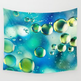 Macro Water Droplets  Aquamarine Soft Green Citron Lemon Yellow and Blue jewel tones Wall Tapestry