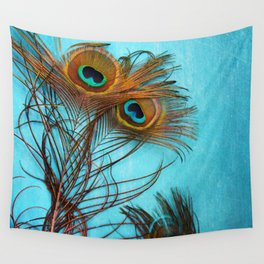 3 peacock feathers Wall Tapestry