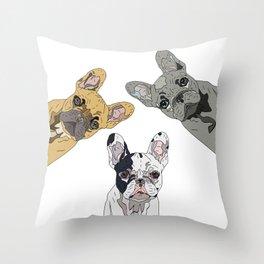 Triple Frenchies Throw Pillow