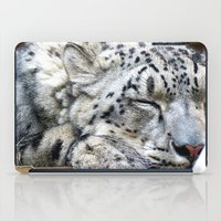 snow leopard iPad Cases featuring Snow leopard by Laura Grove