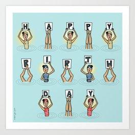 Happy Birthday Swimmers Art Print