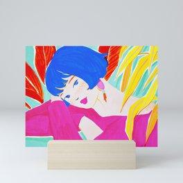 Short Hair Girl and Plants Mini Art Print
