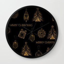 Christmas Golden pattern on black background. Wall Clock