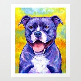 Colorful American Pitbull Terrier Dog Art Print