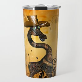 Funny steampunk giraffe with hat Travel Mug