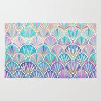 deco Area & Throw Rugs featuring Glamorous Twenties Art Deco Pastel Pattern by micklyn