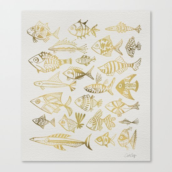 Gold-Inked Fish Canvas Print