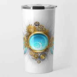 Banner with Glass Mechanical Wings ( Steampunk Wings ) Travel Mug