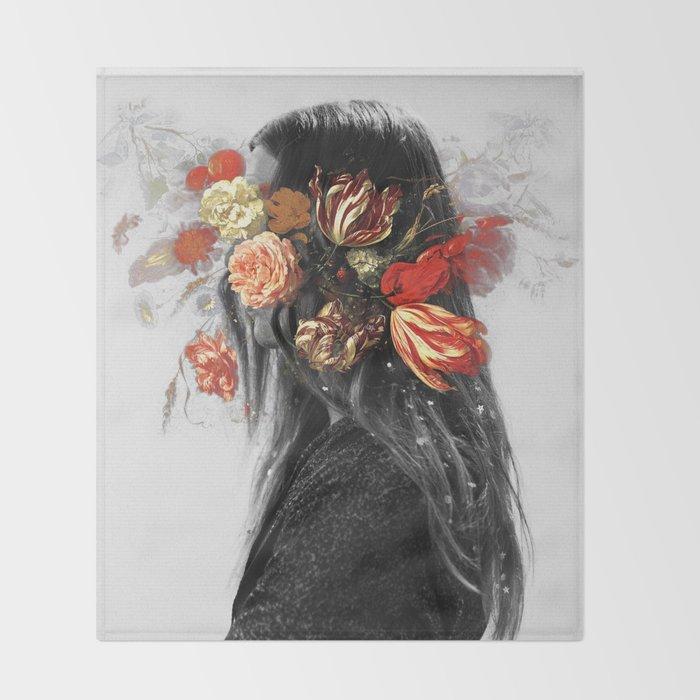Flower face Throw Blanket