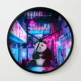 Giant panda in a Chinese street by GEN Z Wall Clock