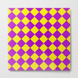 Plaid in crimson and yellow colours . Cell . Metal Print
