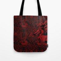 targaryen Tote Bags featuring Dragon Damask by Jimiyo
