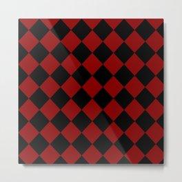 Red and Black Diamond Check Metal Print