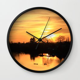 Floodplain at Sunset 3 Wall Clock