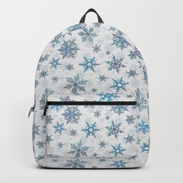"""""""Embroidered"""" Snowflakes on white canvas Backpack"""