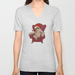 Sophisticated Sloth Unisex V-Neck