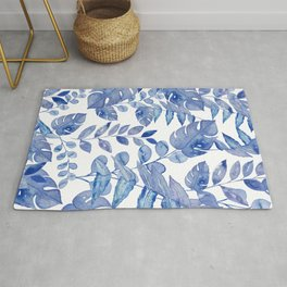Palmleaves and monstera leaves watercolor painting - classic blue Rug