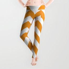 Carrot orange - orange color - Zigzag Chevron Pattern Leggings