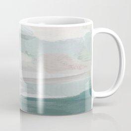 Sage Green Sky Blue Blush Pink Abstract Nature Sky Wall Art, Water Land Painting Print Coffee Mug