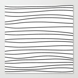 Black and White Brush Lines Canvas Print