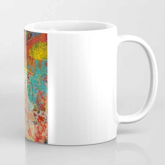 Pieces of Me - Gorgeous Bold Fabric Painting Collage Love Colorful Rainbow Yellow Red Stripes Floral Mug