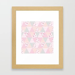 Pink soft flowers triangle quilt pattern print for home decor nursery craft room Framed Art Print