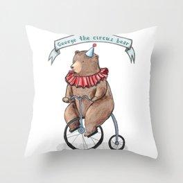 George the circus bear Throw Pillow