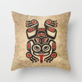 Red and Black Haida Spirit Tree Frog Throw Pillow