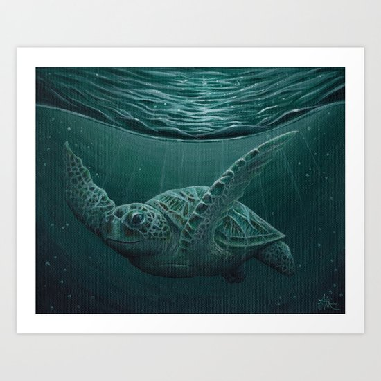 """Eclipse"" by Amber Marine - Sea Turtle, Acrylic Painting, (c) 2015 Art Print"