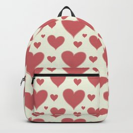 Vintage chic pastel red ivory romantic valentine's hearts Backpack