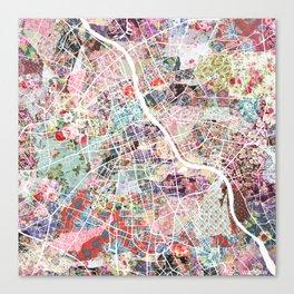 Warsaw map Canvas Print