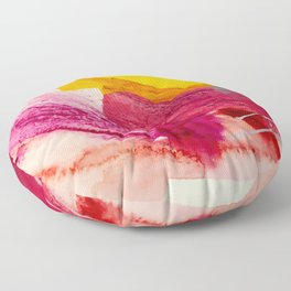 Pink Lemonade: a minimal, colorful abstract mixed media with bold strokes of pinks, and yellow Floor Pillow